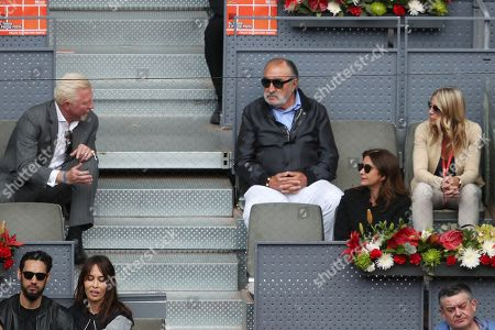 Boris Becker and friend with former player  Ion Tiriac  watches  Dominic Thiem from Austria beat Kevin Anderson from South Africa in Semi Final