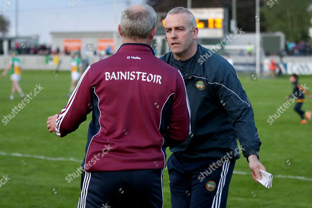 Offaly vs Galway. Offaly's manager Kevin Martin congruglates Galway manager Micheál Donoghue after the game
