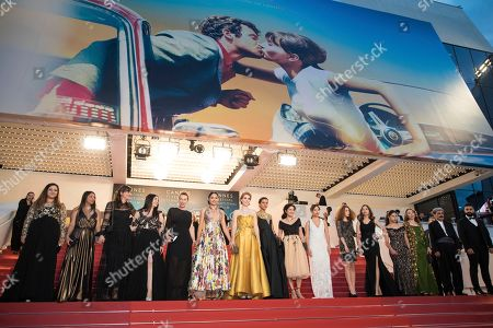 Didar Domehri, Golshifteh Farahani, Eva Husson, Emmanuelle Bercot, Francoise Nyssen. Cast and crew of the film 'Girls of The Sun' pose for photographers after the premiere during the 71st international film festival, Cannes, southern France