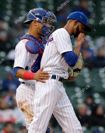 Willson Contreras, Carl Edwards Jr. Chicago White Sox catcher Willson Contreras, left, talks with relief pitcher Carl Edwards Jr., during the eighth inning of a baseball game against the Chicago Cubs, in Chicago
