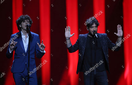 Ermal Meta and Fabrizio Moro from Italy perform the song 'Non Mi Avete Fatto Niente' in Lisbon, Portugal, during the Eurovision Song Contest grand final