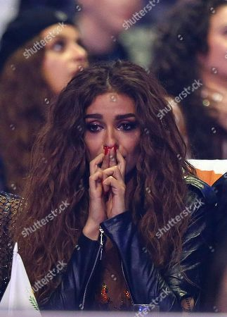 Eleni Foureira from Cyprus reacts as votes are announced during the Eurovision Song Contest grand final in Lisbon, Portugal