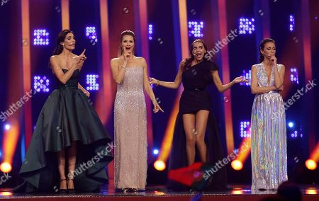 Stock Image of Presenters Daniela Ruah, Silvia Alberto, Catarina Furtado and Filomena Cautela, from left to right in Lisbon, Portugal, during the Eurovision Song Contest grand final