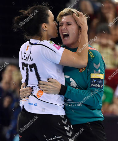 Andrea Lekic (L) and goalkeeper Inna Suslina of HC Vardar of Macedonia celebrate after the Women's Handball Champions' League final four match between Rostov-Don and HC Vardar in Papp Laszlo Sports Arena, Budapest, Hungary, 12 May 2018.