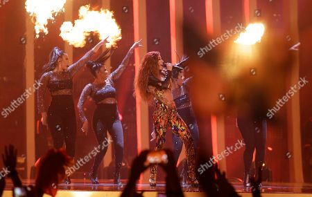 Eleni Foureira from Cyprus performs the song 'Fuego' in Lisbon, Portugal, during the Eurovision Song Contest grand final