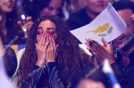 Eleni Foureira from Cyprus reacts during the announcement of voting in Lisbon, Portugal, during the Eurovision Song Contest grand final