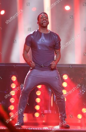 Cesar Sampson from Austria performs the song 'Nobody But You' in Lisbon, Portugal, during the Eurovision Song Contest grand final