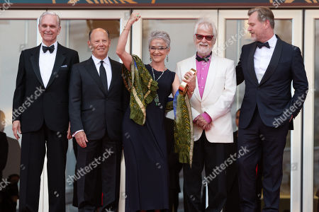 (L-R) Actor Keir Dullea, a guest, Stanley Kubrick's daughter Katharina Kubrick, Stanley Kubrick's producing partner and brother-in-law Jan Harlan and director Christopher Nolan