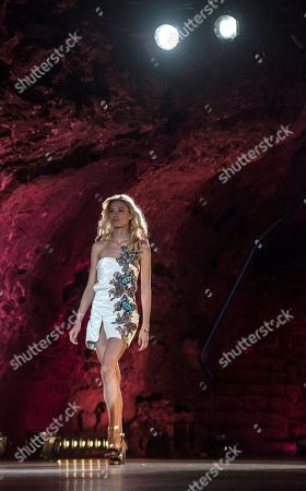 A model presents a creation of Spanish designer Custo Dalmau at Lanzarote Fashion Weekend in Lanzarote, Canary Islands, 12 May 2018.