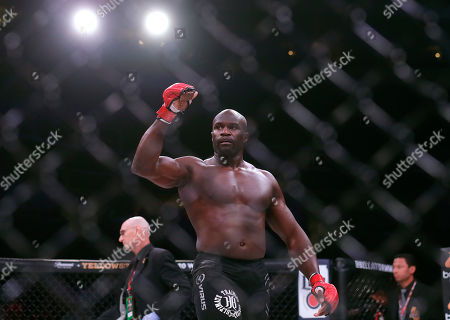 Cheick Kongo celebrates after defeating Javy Ayala in a mixed martial arts fight at Bellator 199 in San Jose, Calif