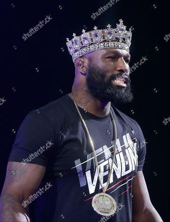 """Muhammed """"King Mo"""" Lawal before a mixed martial arts fight against Ryan Bader at Bellator 199 in San Jose, Calif"""