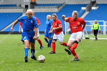 Alan Davies of England over 60's shoots at goal during the world's first Walking Football International match