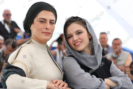 Behnaz Jafari, Marziyeh Rezaei. Actresses Behnaz Jafari, left, and Marziyeh Rezaei pose for photographers during a photo call for the film '3 Faces' at the 71st international film festival, Cannes, southern France