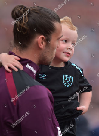 Andy Carroll of West Ham United and his son Arlo