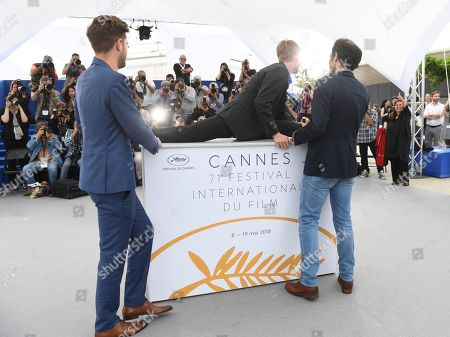 Lukas Dhont, Victor Polster, Arieh Worthalter. Director Lukas Dhont, from left, actor Victor Polster and actor Arieh Worthalter pose for photographers during a photo call for the film 'Girl' at the 71st international film festival, Cannes, southern France