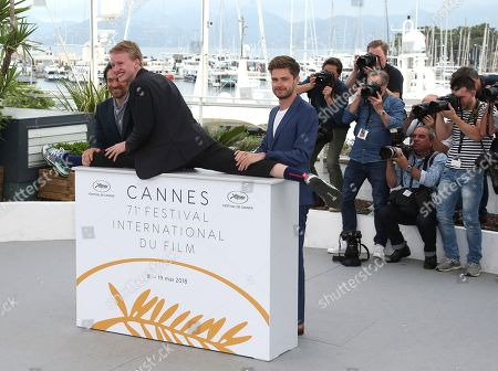 Arieh Worthalter, Victor Polster, Lukas Dhont. Actor Arieh Worthalter, from left, actor Victor Polster and actor Lukas Dhont pose for photographers during a photo call for the film 'Girl' at the 71st international film festival, Cannes, southern France
