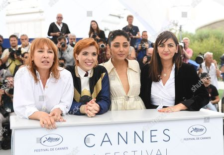 Emmanuelle Bercot, Eva Husson, Golshifteh Farahani, Didar Domehr. Actress Emmanuelle Bercot, from left, director Eva Husson, actress Golshifteh Farahani and producer Didar Domehri pose for photographers during a photo call for the film 'Girls of The Sun' at the 71st international film festival, Cannes, southern France
