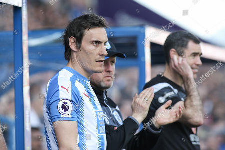 Stock Photo of MERCURY PRESS. 13/05/18. Huddersfield, UK. Pictured: Dean Whitehead readies himself as he makes his final appearance for Huddersfield before retiring.  Huddersfield Town vs Arsenal at the John Smiths Stadium in Huddersfield, West Yorkshire. Photo Credit: Ian Hinchliffe/Mercury Press