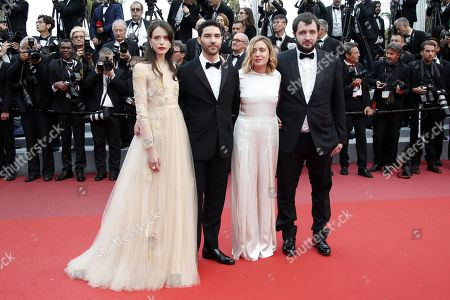 (R-L) Karim Leklou, director Marie Monge, actors Tahar Rahim and Stacy Martinarrives for the screening of 'Sink Or Swim (Le Grand Bain)' during the 71st annual Cannes Film Festival, in Cannes, France, 13 May 2018. The movie is presented out of competition at the festival which runs from 08 to 19 May.