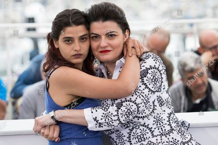 Gaya Jiji, Manal Issa. Director Gaya Jiji and actress Manal Issa pose for photographers during a photo call for the film 'My Favorite Fabric' at the 71st international film festival, Cannes, southern France