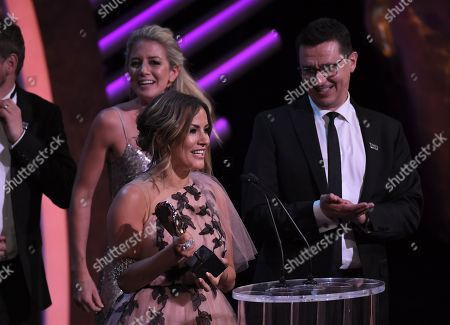 Stock Photo of Sarah Tyekiff, Caroline Flack and Richard Cowles, Reality & Constructed Factual Award, 'Love Island'