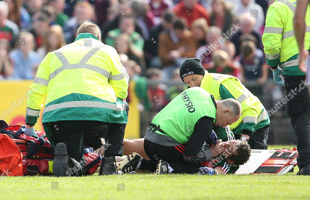 Mayo vs Galway. Mayo's Tom Parsons receives medical treatment