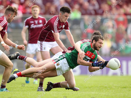 Mayo vs Galway. Mayo's Tom Parsons and Paul Conroy of Galway