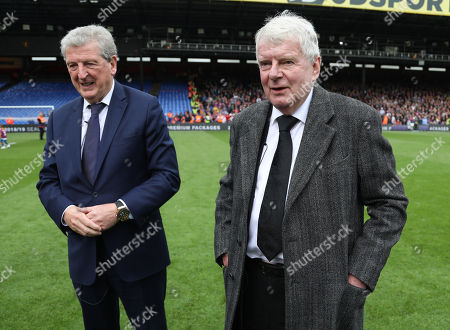 Crystal Palace manager Roy Hodgson with TV commentator John Motson