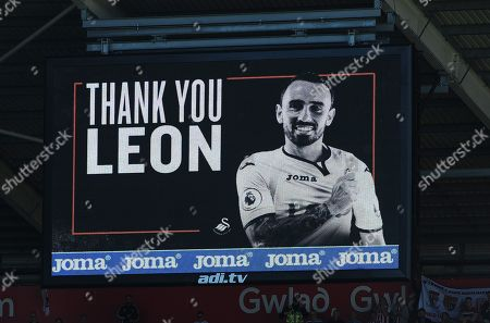 A billboard message thanking Leon Britton of Swansea City for his services to the club
