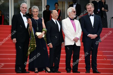 (L-R)  Keir Dullea,Katharina Kubrick, guest, Jan Harlan and director Christopher Nolan arrive for the screening of 'Sink Or Swim (Le Grand Bain)' during the 71st annual Cannes Film Festival, in Cannes, France, 13 May 2018. The movie is presented out of competition at the festival which runs from 08 to 19 May.