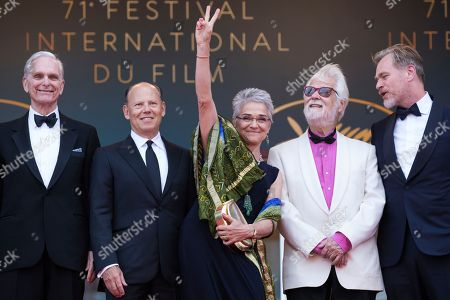 Keir Dullea, Katharina Kubrick, Jan Harlan, Christopher Nolan. Keir Dullea, Katharina Kubrick, Jan Harlan and Christopher Nolan pose for photographers upon arrival at the premiere of the film '2001: A Space Odyssey' at the 71st international film festival, Cannes, southern France