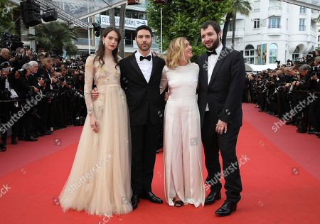 Stacy Martin, Tahar Rahim, Marie Monge, Karim Leklou. Actors Stacy Martin, from left, Tahar Rahim, Marie Monge and Karim Leklou pose for photographers upon arrival at the premiere of the film 'Sink or Swim' at the 71st international film festival, Cannes, southern France