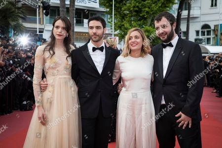 Karim Leklou, Marie Monge, Tahar Rahim, Stacy Martin. Karim Leklou, Marie Monge, Tahar Rahim and Stacy Martin pose for photographers upon arrival at the premiere of the film 'Sink or Swim' at the 71st international film festival, Cannes, southern France
