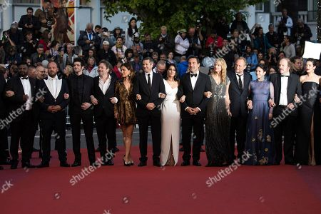 Thamilchelvan Balasingham, Mathieu Amalric, Felix Moati, Mathieu Amalric, Marina Fois, Guillaume Canet, Leila Bekhti, Gilles Lellouche, actors Virginie Efira, Benoit Poelvoorde, Noee Abita. Actors Thamilchelvan Balasingham, Mathieu Amalric, Felix Moati, Mathieu Amalric, Marina Fois, Guillaume Canet, Leila Bekhti, director Gilles Lellouche, actors Virginie Efira, Benoit Poelvoorde and Noee Abita pose for photographers upon arrival at the premiere of the film 'Sink or Swim' at the 71st international film festival, Cannes, southern France