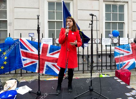 Labour MP Tulip Siddiq speaks during Women Against Brexit rally outside Europe House in central London.