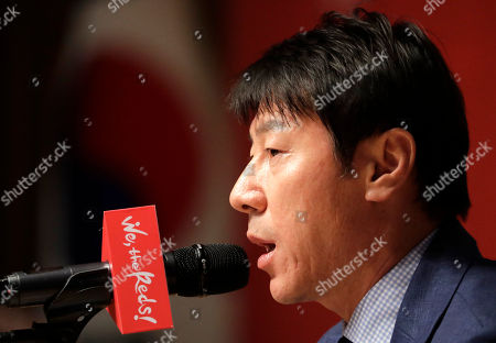 South Korea's national soccer team head coach Shin Tae-yong speaks during a press conference to announce the members of squad for the 2018 Russia World Cup in Seoul, South Korea, . Tottenham forward Son Heung-min is set to lead South Korea's challenge at the 2018 World Cup. Coach Shin announced a 28-man squad Monday that was headlined by Son and his fellow English Premier League players Ki Sung-yueng of Swansea City and Lee Chung-yung of Crystal Palace