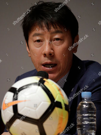 South Korea's national soccer team head coach Shin Tae-yong answers a reporter's question during a press conference to announce the members of squad for the 2018 Russia World Cup in Seoul, South Korea, . Tottenham forward Son Heung-min is set to lead South Korea's challenge at the 2018 World Cup. Coach Shin announced a 28-man squad Monday that was headlined by Son and his fellow English Premier League players Ki Sung-yueng of Swansea City and Lee Chung-yung of Crystal Palace