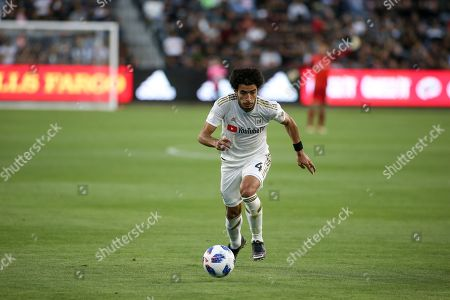 Los Angeles, CA...Los Angeles FC defender Omar Gaber #4 chasing down a ball during second half of the Los Angeles Football Club vs New York City Football Club at BANC OF CALIFORNIA Stadium in Los Angeles, Ca on , 2018. Jevone Moore
