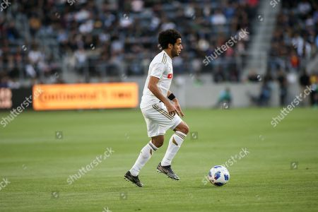 Los Angeles, CA...Los Angeles FC defender Omar Gaber #4 during second half of the Los Angeles Football Club vs New York City Football Club at BANC OF CALIFORNIA Stadium in Los Angeles, Ca on , 2018. Jevone Moore