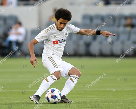 Los Angeles, CA...Los Angeles FC defender Omar Gaber #4 dribbling during second half of the Los Angeles Football Club vs New York City Football Club at BANC OF CALIFORNIA Stadium in Los Angeles, Ca on , 2018. Jevone Moore