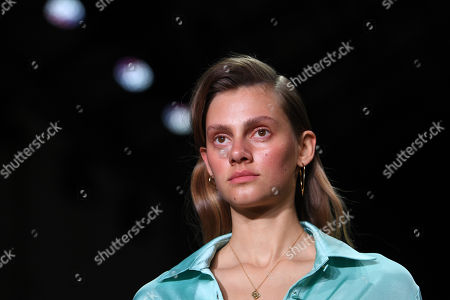 Stock Image of A model presents a creation by Anna Quan during the Mercedes-Benz Fashion Week Australia in Sydney, Australia,  14 May 2018. The event runs from 13 to 17 May.