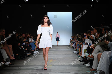 A model presents a creation by Anna Quan during the Mercedes-Benz Fashion Week Australia in Sydney, Australia,  14 May 2018. The event runs from 13 to 17 May.