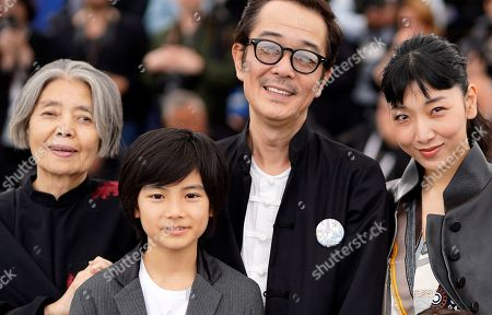 (L-R) Kirin Kiki, Jyo Kairi, Lily Franky and Sakura Ando pose during the photocall for 'Shoplifters (Manbiki Kazoku)' at the 71st annual Cannes Film Festival, in Cannes, France, 14 May 2018. The movie is presented in the Official Competition of the festival which runs from 08 to 19 May.