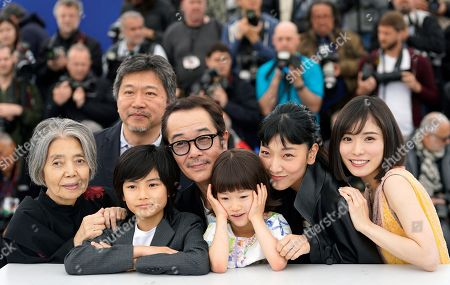 (L-R) Kirin Kiki, director Hirokazu Kore-eda, Jyo Kairi, Lily Franky, Miyu Sasaki, Sakura Ando and Mayu Matsuoka pose during the photocall for 'Shoplifters (Manbiki Kazoku)' at the 71st annual Cannes Film Festival, in Cannes, France, 14 May 2018. The movie is presented in the Official Competition of the festival which runs from 08 to 19 May.