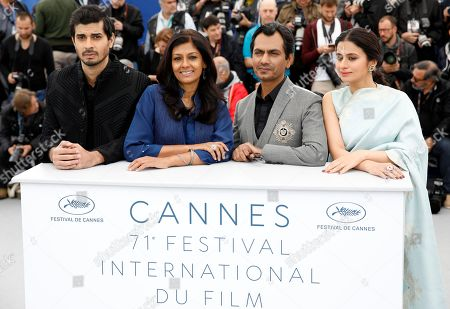 (R-L) Indian actress Rasika Dugal, Indian actor Nawaz Zuddin Siddiqui, Indian director Nandita Das and Indian actor Tahir Raj Bhasin pose during the photocall for 'Manto' at the 71st annual Cannes Film Festival, in Cannes, France, 14 May 2018. The movie is presented in the section Un Certain Regard of the festival which runs from 08 to 19 May.