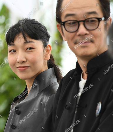 Sakura Ando, Lily Franky. Actrors Sakura Ando, left, and Lily Franky pose for photographers during a photo call for the film 'Shoplifters' at the 71st international film festival, Cannes, southern France