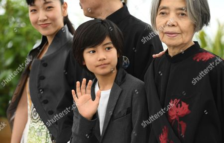 Sakura Ando, Jyo Kairi, Kirin Kiki. Actors Sakura Ando, from left, Jyo Kairi, and Kirin Kiki pose for photographers during a photo call for the film 'Shoplifters' at the 71st international film festival, Cannes, southern France