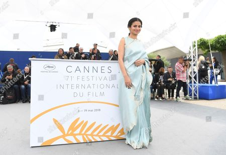 Actress Rasika Dugal poses for photographers during a photo call for the film 'Manto' at the 71st international film festival, Cannes, southern France