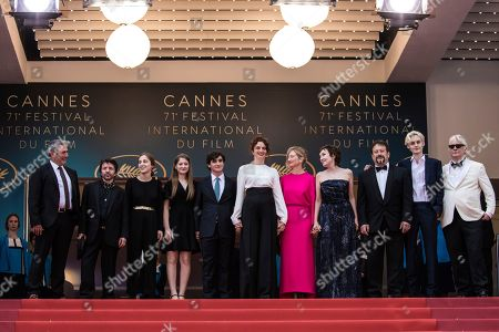 Sergi Lopez, David Bennent, Gala Othero Winter, Agnese Graziani, Adriano Tardiolo, Alice Rohrwacher, Alba Rohrwacher, Nicoletta Braschi, Natalino Balasso, Luca Chikovani. Sergi Lopez, David Bennent, director Gala Othero Winter, actress Agnese Graziani, actor Adriano Tardiolo, director Alice Rohrwacher, actress Alba Rohrwacher, actress Nicoletta Braschi, actor Natalino Balasso and actor Luca Chikovani pose for photographers upon arrival at the premiere of the film 'Happy as Lazzaro' at the 71st international film festival, Cannes, southern France