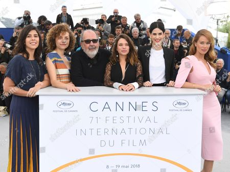 Flora Diegues, Marina Provenzano, director Carlos Diegues, Bruna Linzmeyer, Luiza Mariani, Mariana Ximenes. Actresses Flora Diegues, from left, Marina Provenzano, director Carlos Diegues, actresses Bruna Linzmeyer, Luiza Mariani and Mariana Ximenes pose for photographers during a photo call for the film 'Le Grand cirque mystique' at the 71st international film festival, Cannes, southern France